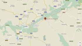 Mapa de la zona en la que se ha estrellado la avioneta, cerca del aeródromo de Algodor (Toledo).