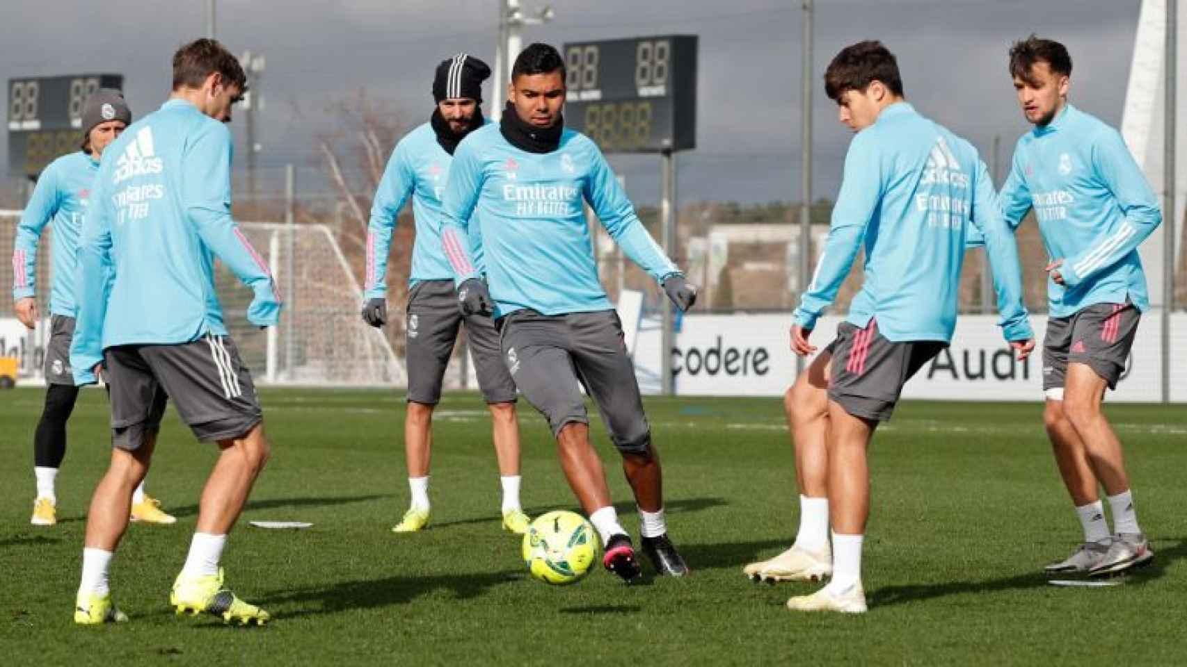 Casemiro, en el último entrenamiento del Real Madrid