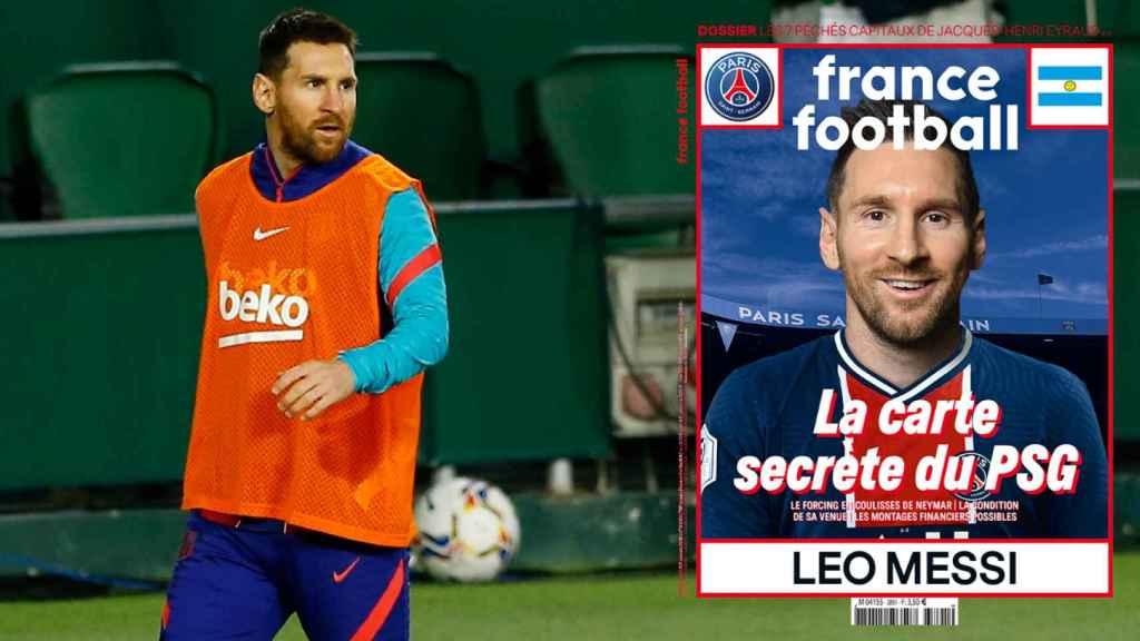 Leo Messi y un fotomontaje con la portada de France Football