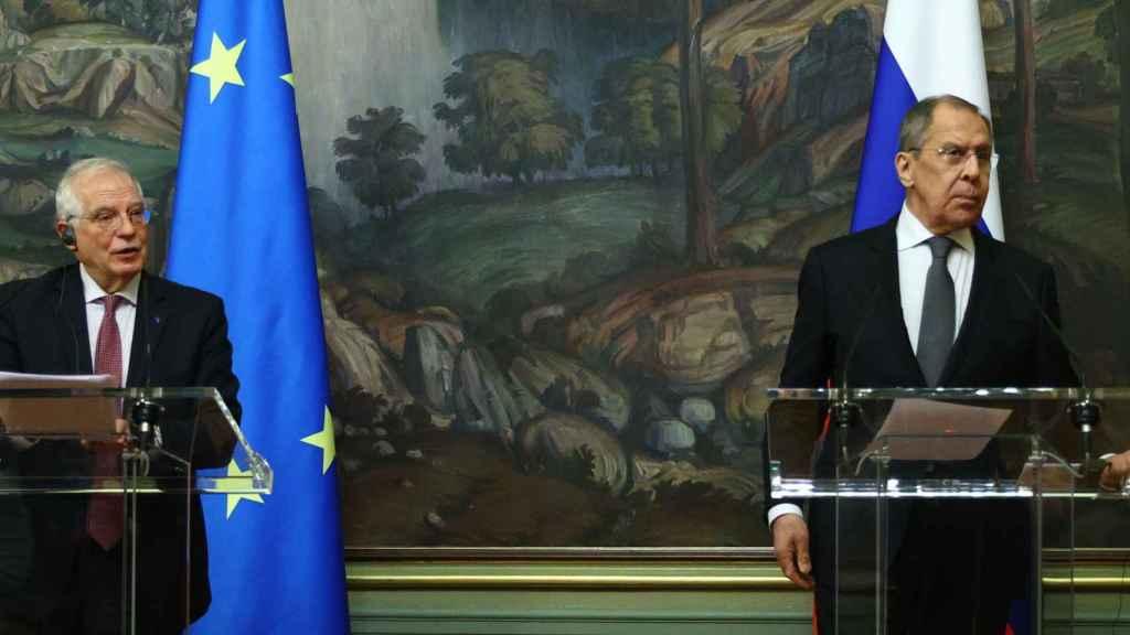 Borrell y Lavrov, en su rueda de prensa de la semana pasada.