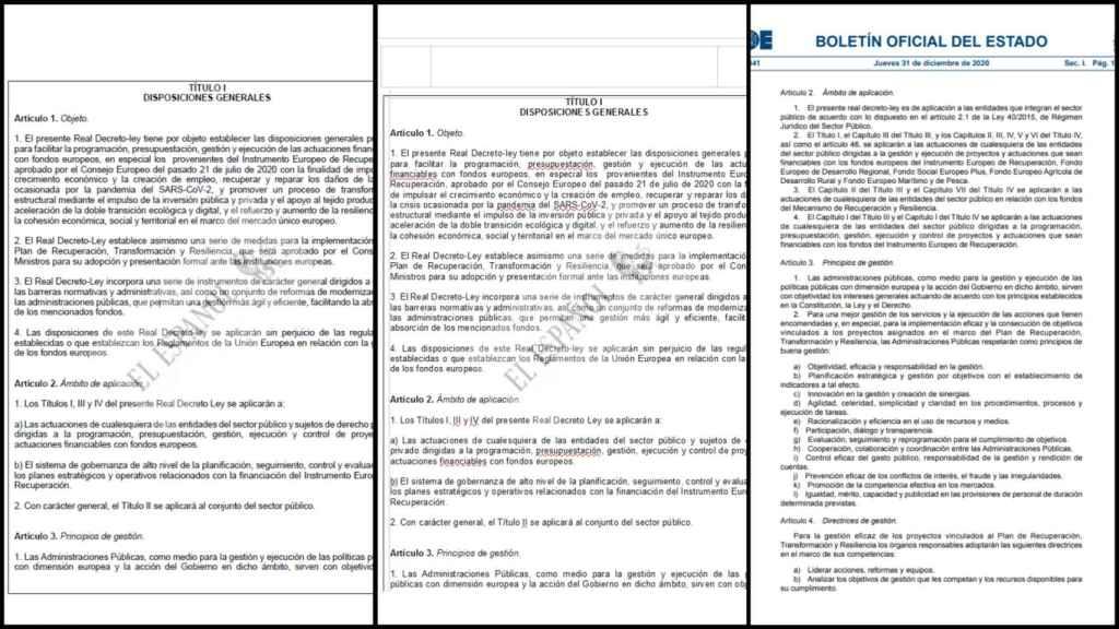 El artículo 2 del decreto sobre los fondos de la UE en los dos borradores, y la redacción finalmente publicada en el BOE.