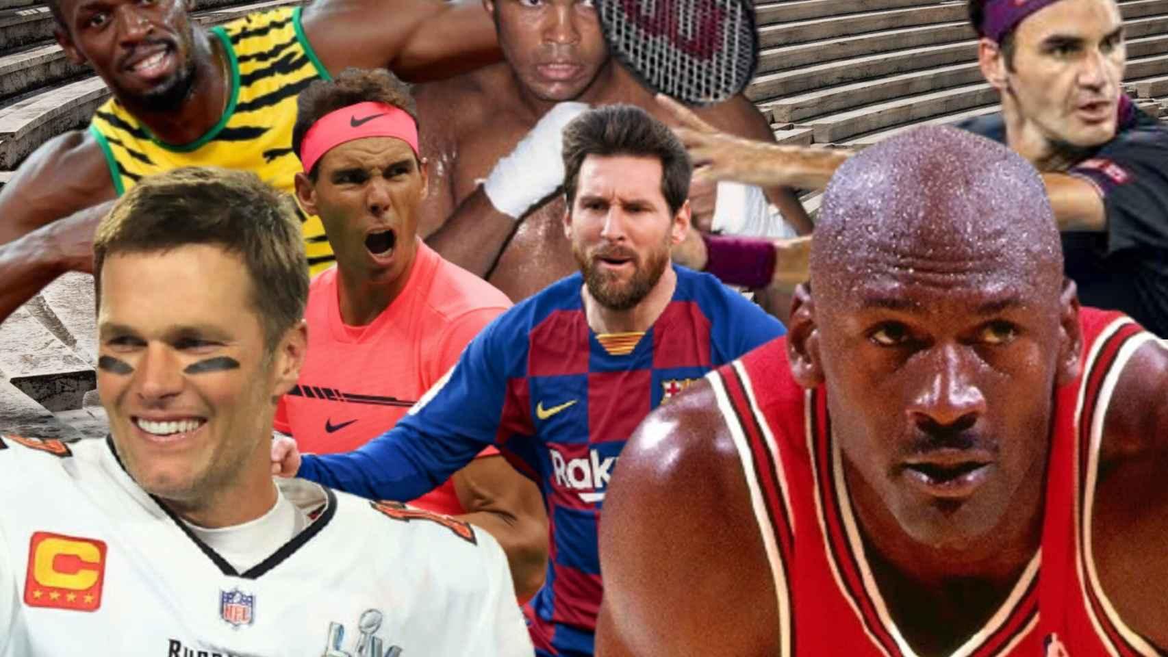 Tom Brady, Rafa Nadal, Usain Bolt, Leo Messi, Muhamad Ali, Roger Federer y Michael Jordan