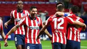Celebración del segundo gol de Luis Suárez con el Atlético de Madrid