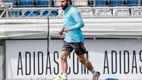 Dani Carvajal, durante un entrenamiento con el Real Madrid