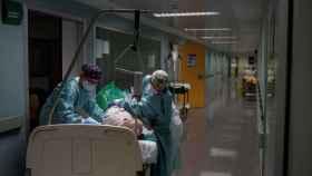 Sanitarios atienden a un paciente recuperado de coronavirus en el pasillo de la unidad de vigilancia postquirúrgica (REA) del Complejo Universitario de Orense.