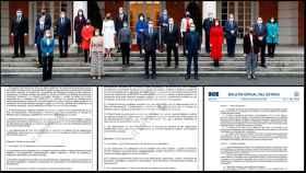 El Gobierno al completo, en las escalinatas de Moncloa. Debajo, el art.2 de los dos borradores y el del decreto final.