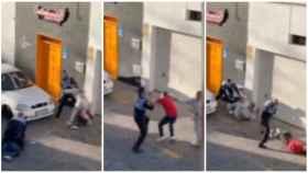 Tres secuencias del vídeo en el que dos agentes de la Policía Local de Arrecife agreden a dos personas por grabar una detención.