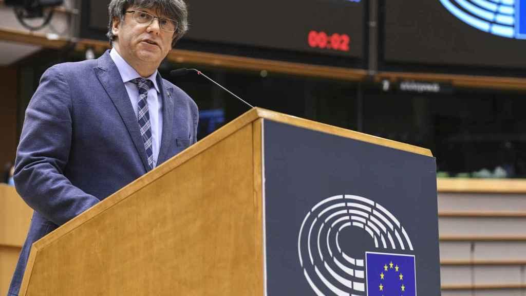 Carles Puigdemont, durante su intervención en el debate con Borrell este martes