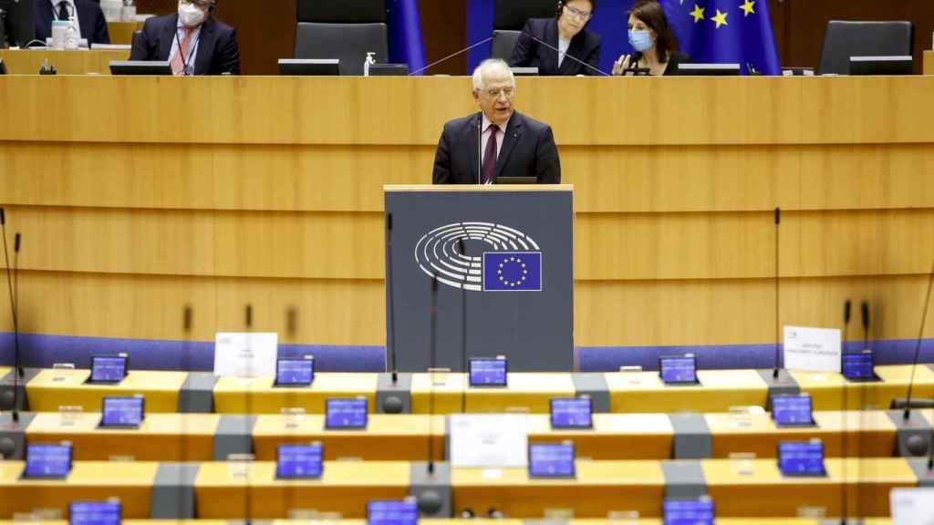 Josep Borrell, durante su intervención en la Eurocámara este martes