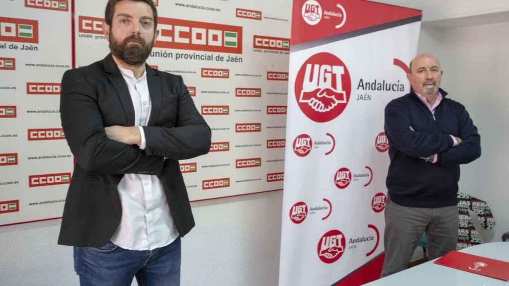 El secretario provincial en Jaén de CCOO, Francisco Cantero, y su homólogo de UGT en la provincia,  Manuel Salazar, este lunes.