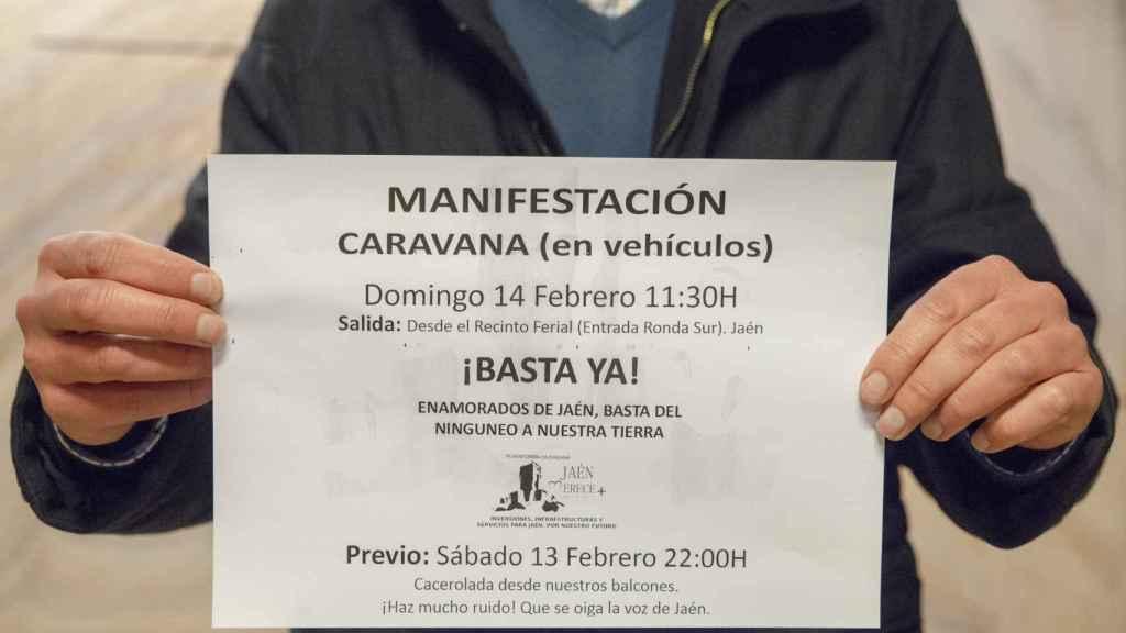 La plataforma 'Jaén Merece Más' ha convocado una manifestación en coche por las calles de la ciudad para este domingo.