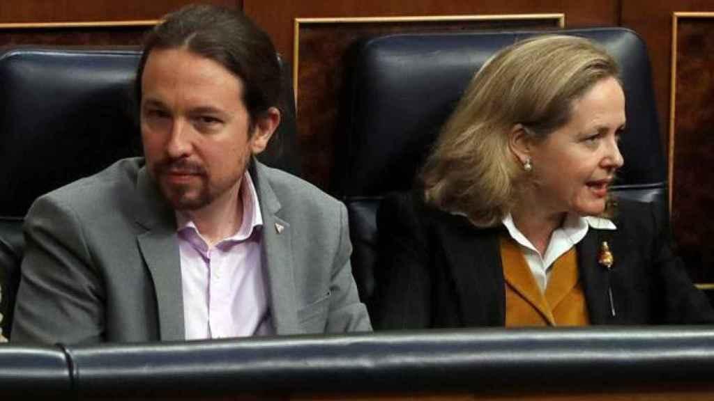 Pablo Iglesias y Nadia Calviño en el Congreso en una imagen de archivo. Efe