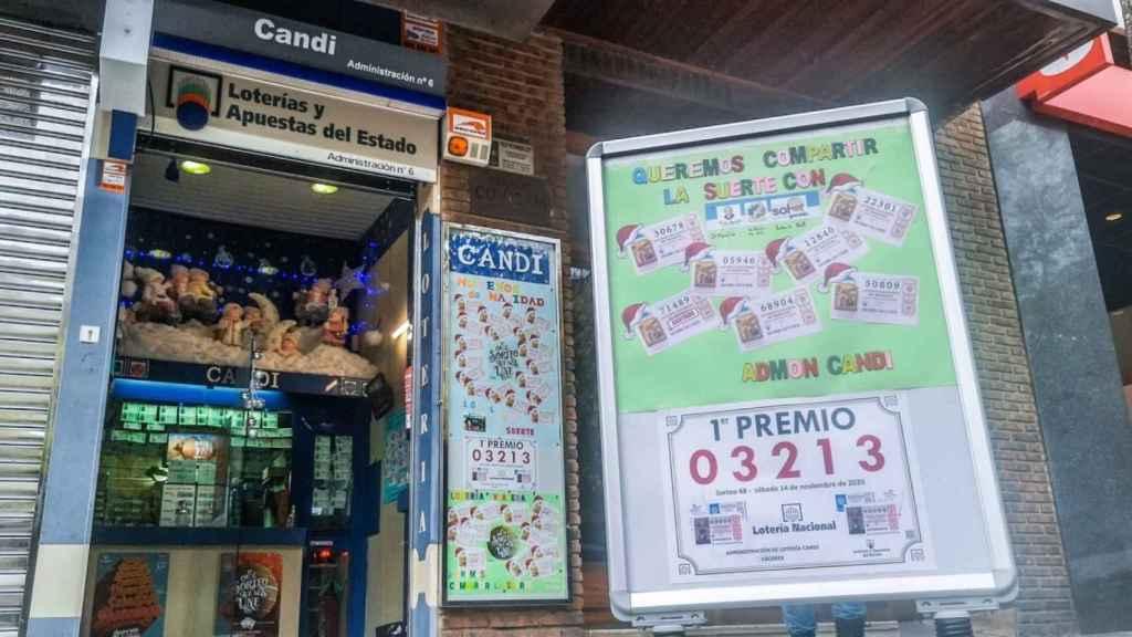 Imagen de la administración de lotería que repartió el premio.