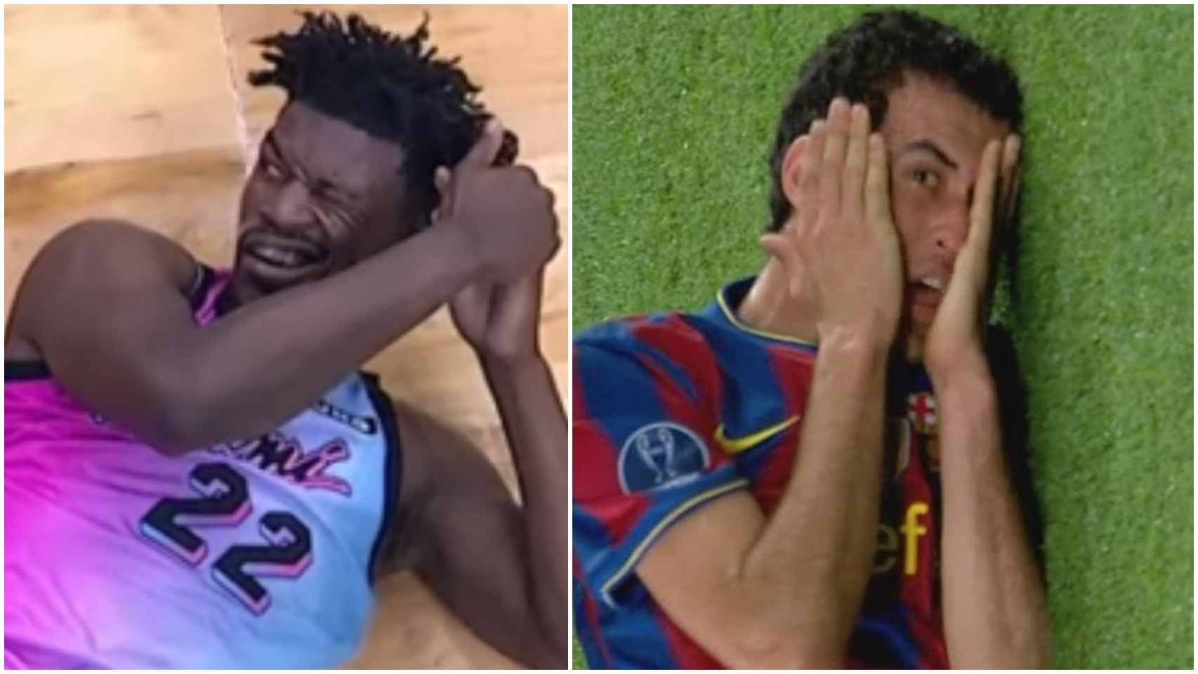 Jimmy Butler y Sergio Busquets, en un collage