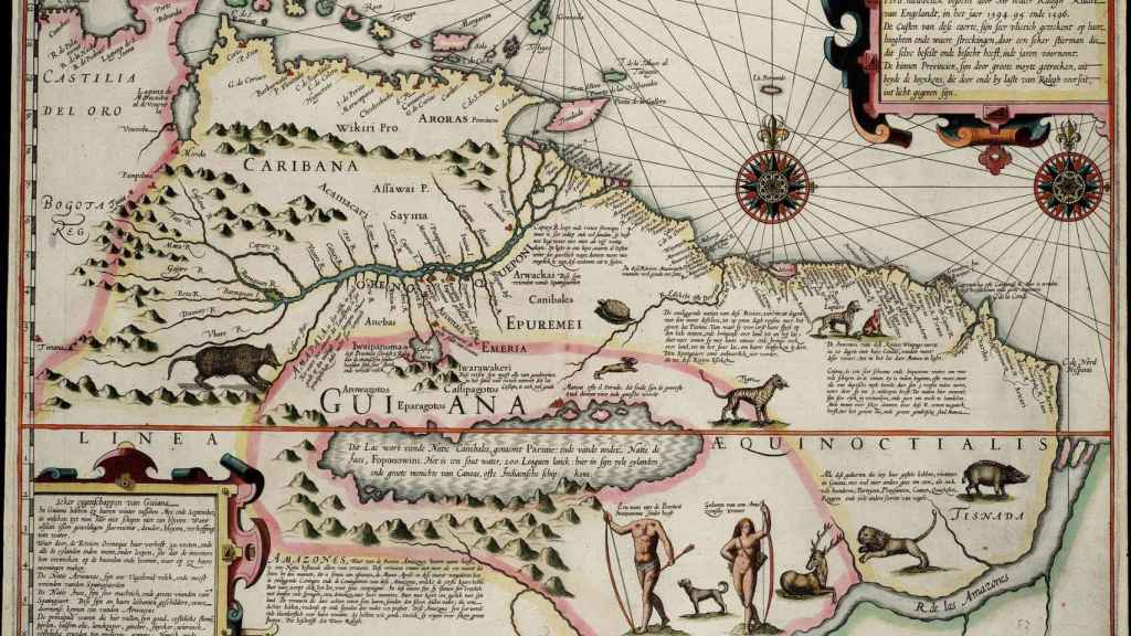 Mapa de 1599 donde se observan los lagos Casipa y Parime y la ciudad de El Dorado.