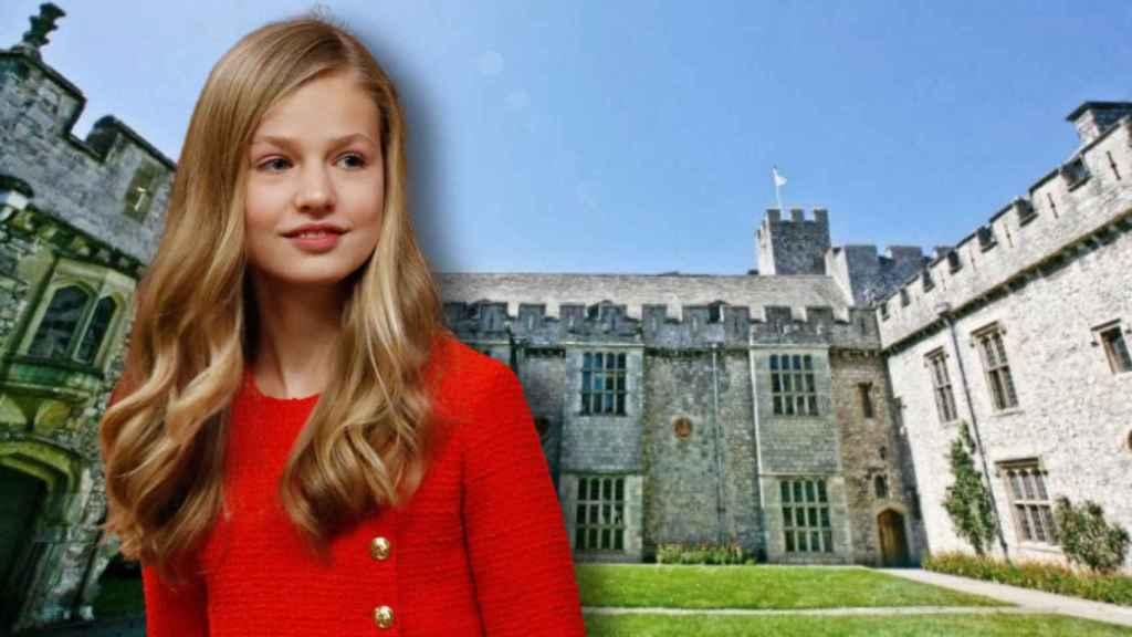 La princesa Leonor junto a las instalaciones del colegio en montaje de JALEOS.
