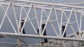 El trabajo en las alturas de las obras del Santiago Bernabéu
