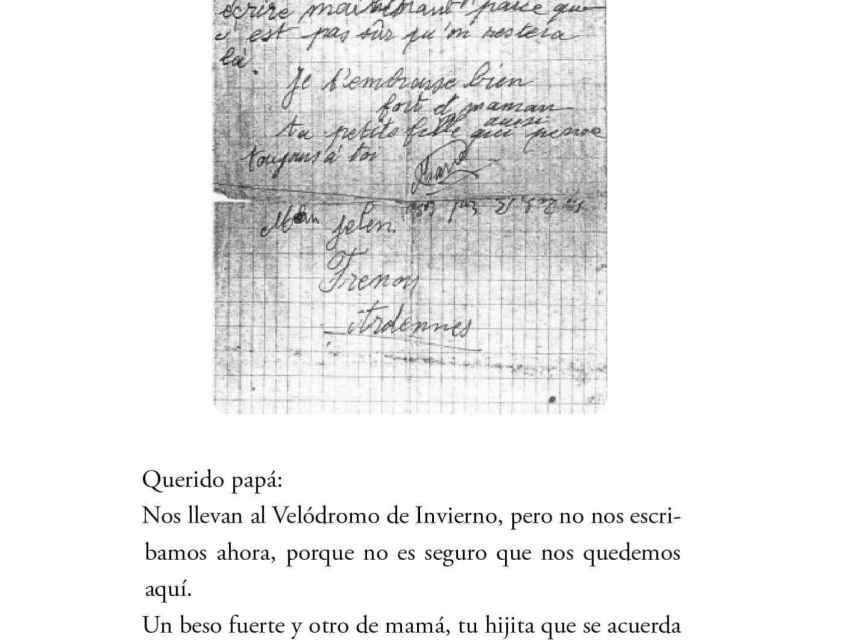 Una de las cartas manuscritas de la niña que aparecen en el libro.