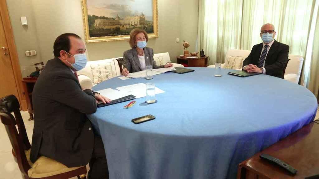 La reina Sofía este miércoles en una reunión de trabajo.