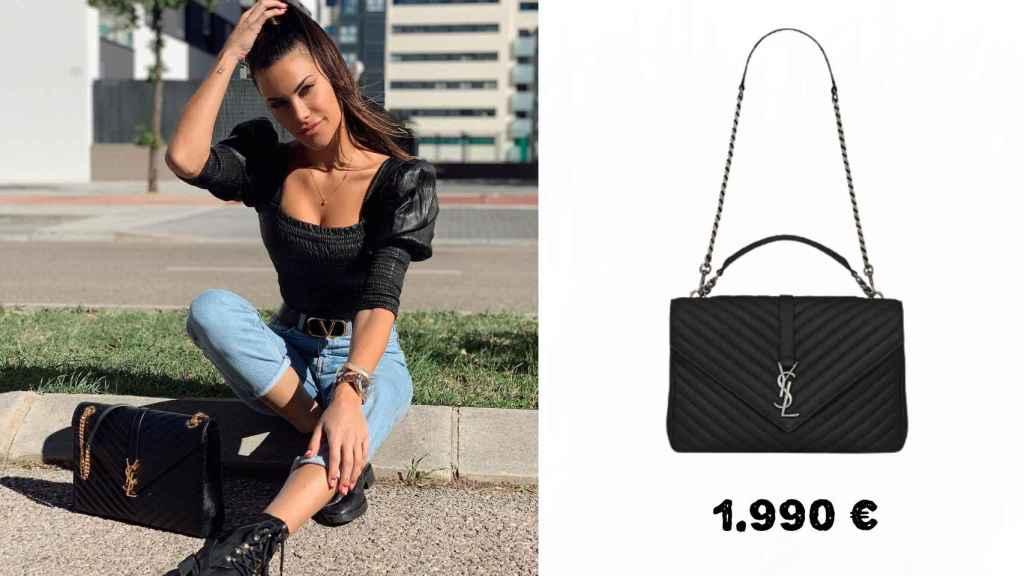Carla con un bolso de Yves Saint Laurent de 1.990 euros.