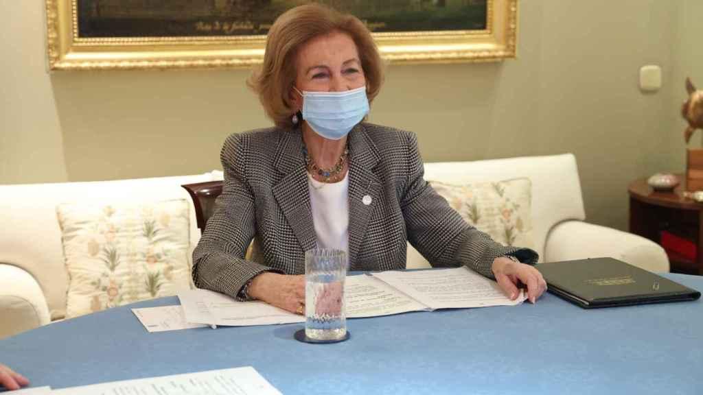 La reina Sofía durante una reunión con el Banco de Alimentos.