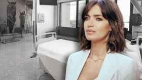 Sara Carbonero y una de las habitaciones de la Clínica Universidad de Navarra, en un montaje de Jaleos.