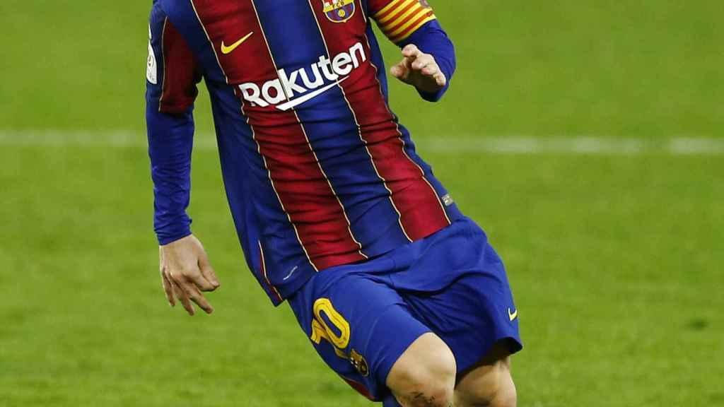 Leo Messi, en un momento de la semifinal de la Copa del Rey entre Sevilla y Barcelona