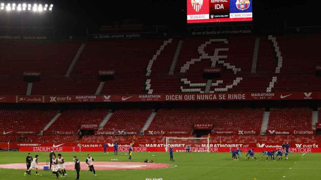 Gradas del Sánchez Pizjuán antes de la semifinal de la Copa del Rey