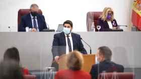El presidente de Murcia, Fernando López Miras, este miércoles en la Asamblea Regional.