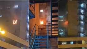 Ventana del hospital en llamas.