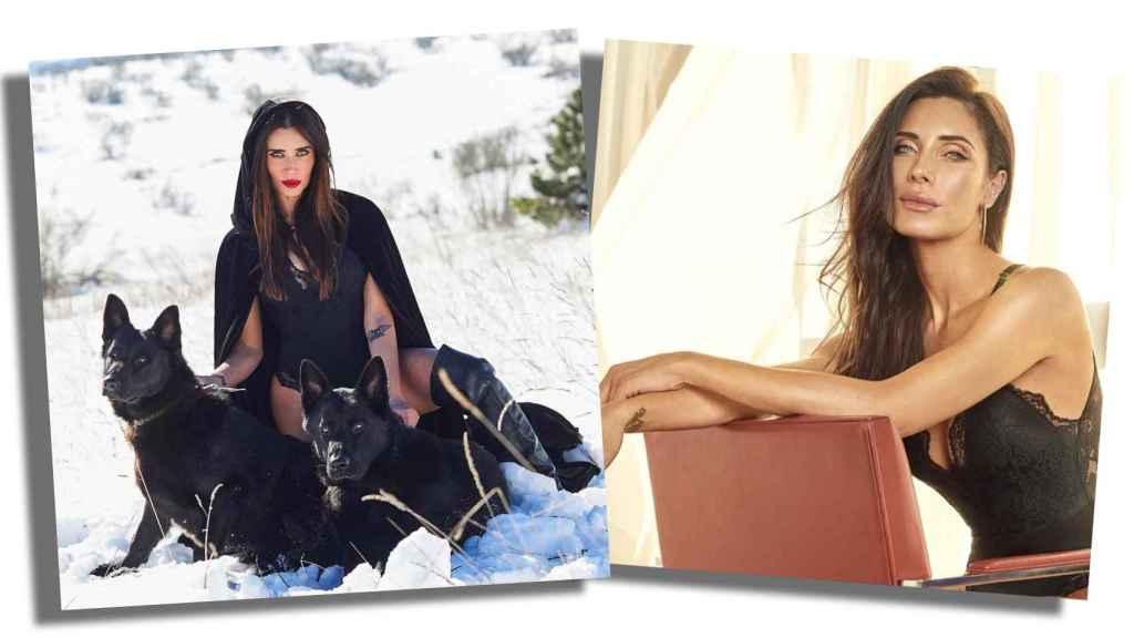 La imagen de Pilar Rubio que se hizo viral durante la nevada en Madrid; y la foto oficial con el body de Selmark.