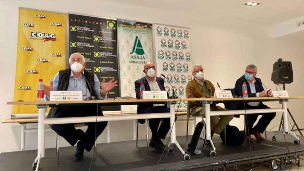 Rueda de prensa de los líderes de las organizaciones agrarias de Andalucía.