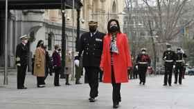 Margarita Robles en la toma de posesión del nuevo jefe de la Armada, almirante Antonio Martorell.