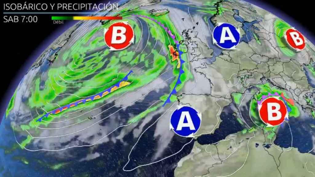 El anticiclón posicionándose sobre España a partir del sábado. Eltiempo.es