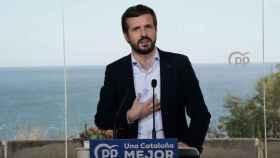 El presidente del PP, Pablo Casado, en un acto de campaña en Cataluña.
