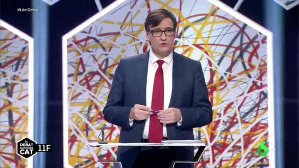Salvador Illa, candidato del PSC, durante el debate electoral en La Sexta.