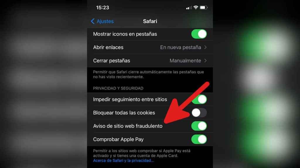 La función que avisa de sitio web fradulento en iOS