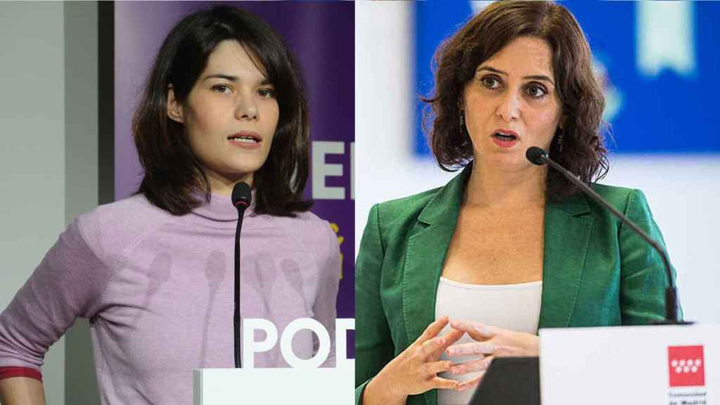 Isa Serra e Isabel Díaz Ayuso en un fotomontaje.