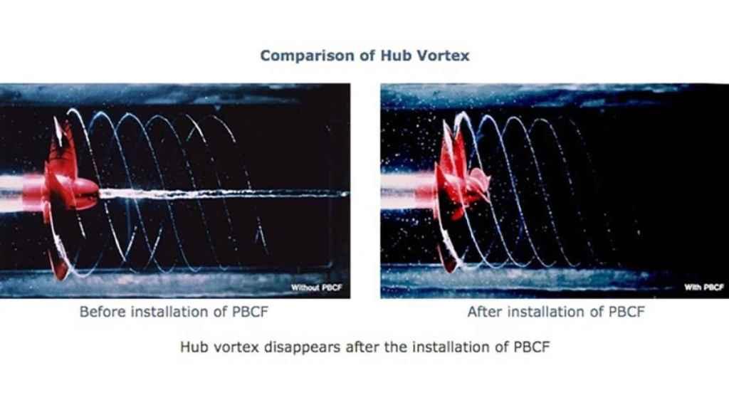 Diferencia entre hélice sin el sistema y hélice con el sistema instalado