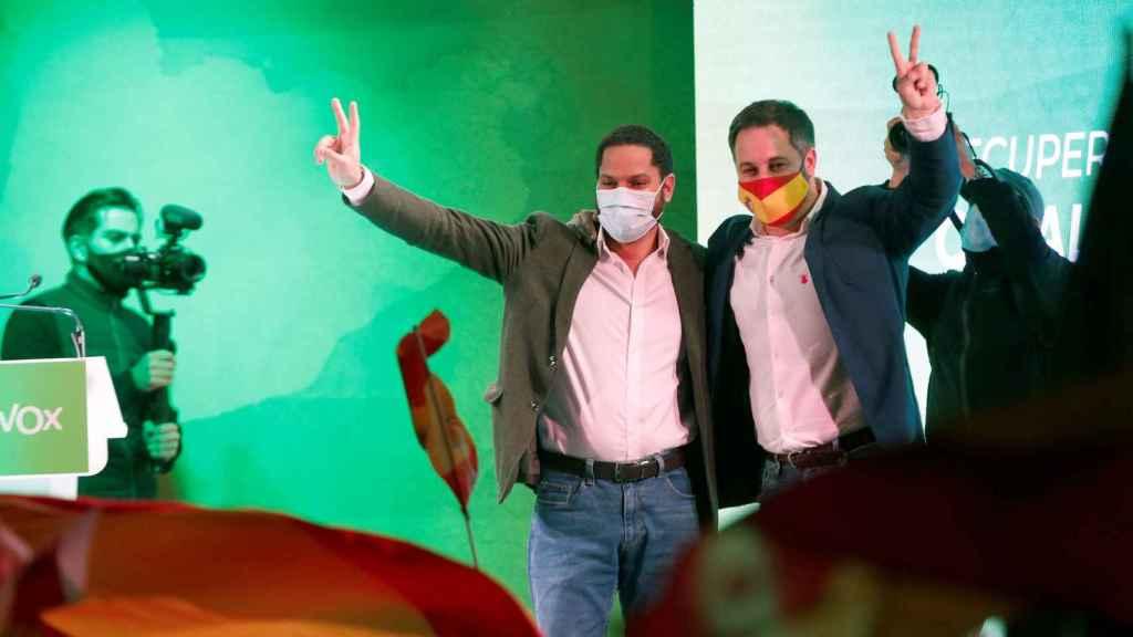 Abascal e Ignacio Garriga, este viernes en el cierre de campaña de Vox.