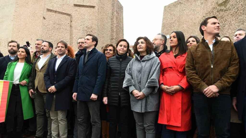 Abascal, Casado y Rivera, hace dos años en la Plaza de Colón.