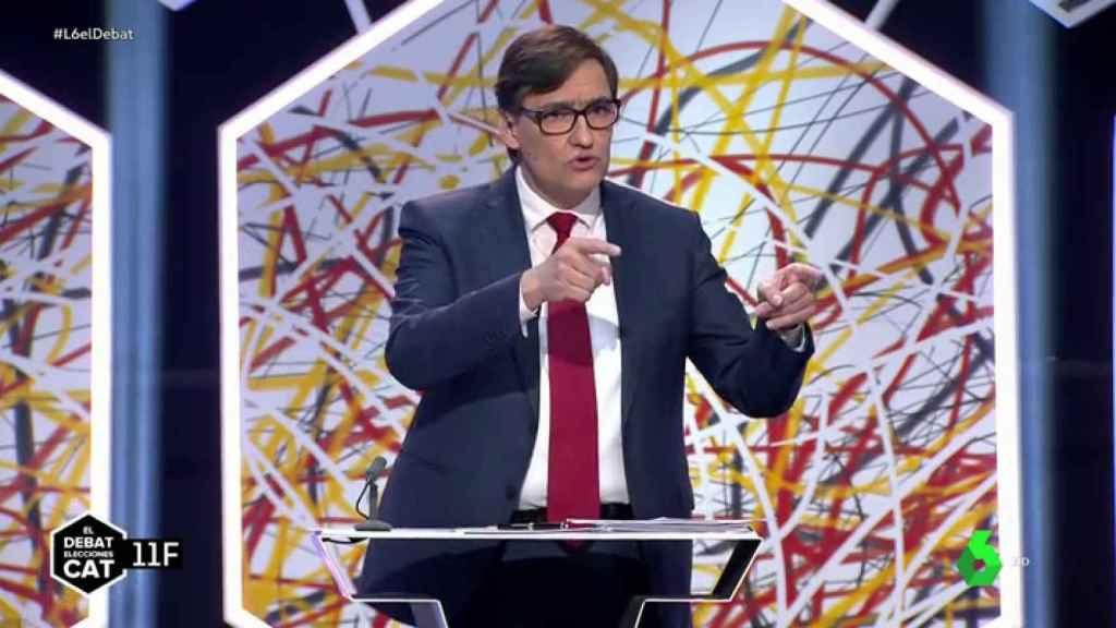 Salvador Illa, candidato del PSC, este jueves en el debate de La Sexta.