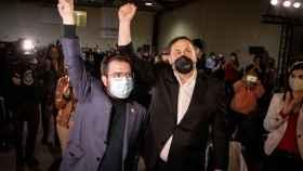 Junqueras y Aragonés, este viernes en el cierre de la campaña de ERC.