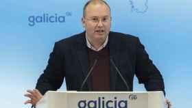 El secretario general del PPdeG, Miguel Tellado, durante una rueda de prensa.