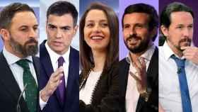 Abascal, Sánchez, Arrimadas, Casado y Abascal.