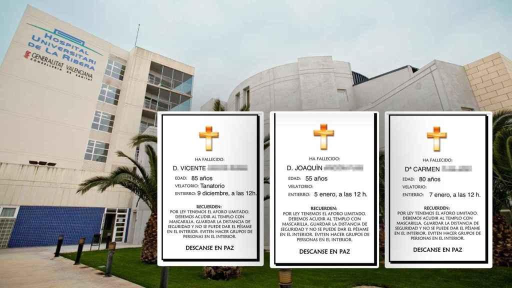 Esquelas difundidas por los vecinos en homenaje a Vicente, Joaquín y Carmen, fallecidos en el Hospital de la Ribera. EE