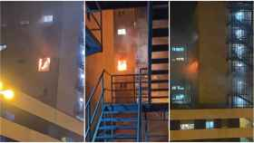 Imágenes  del espectacular incendio del hospital de Cádiz.