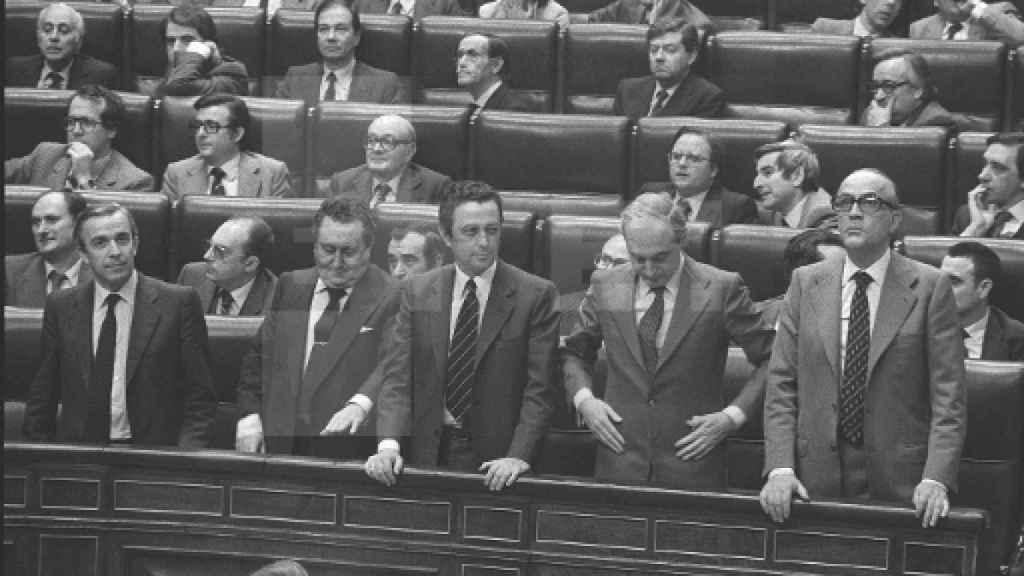 Congreso de los Diputados, con Calvo-Sotelo y Oliart.