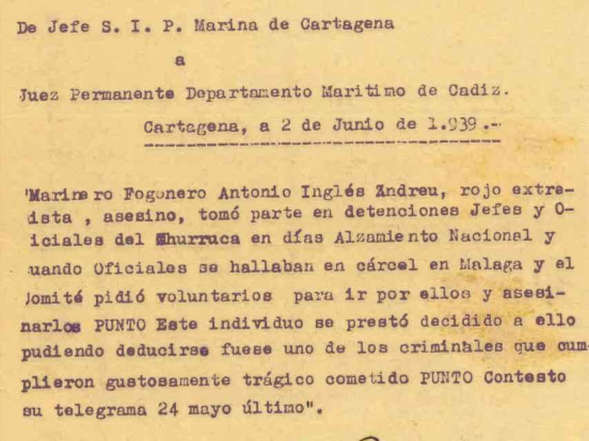 El telegrama del Departamento de Marina que condenó a muerte a Antonio.