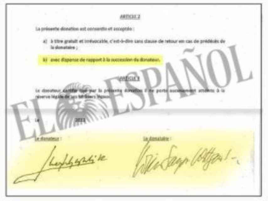 Firmas de Juan Carlos I y Corinna Larsen en los documentos de Suiza desvelados por EL ESPAÑOL./